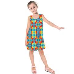 Pop Art Abstract Design Pattern Kids  Sleeveless Dress
