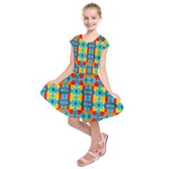 Pop Art Abstract Design Pattern Kids  Short Sleeve Dress