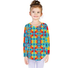 Pop Art Abstract Design Pattern Kids  Long Sleeve Tee