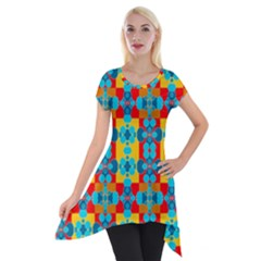 Pop Art Abstract Design Pattern Short Sleeve Side Drop Tunic