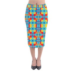 Pop Art Abstract Design Pattern Velvet Midi Pencil Skirt