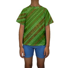Stripes Course Texture Background Kids  Short Sleeve Swimwear