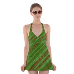 Stripes Course Texture Background Halter Swimsuit Dress