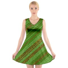 Stripes Course Texture Background V-Neck Sleeveless Skater Dress