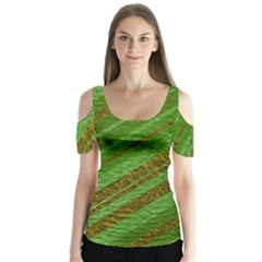 Stripes Course Texture Background Butterfly Sleeve Cutout Tee