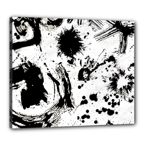 Pattern Color Painting Dab Black Canvas 24  x 20