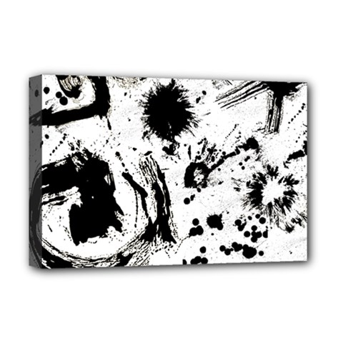 Pattern Color Painting Dab Black Deluxe Canvas 18  x 12