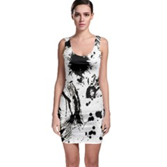 Pattern Color Painting Dab Black Sleeveless Bodycon Dress