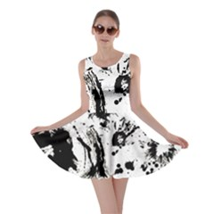 Pattern Color Painting Dab Black Skater Dress