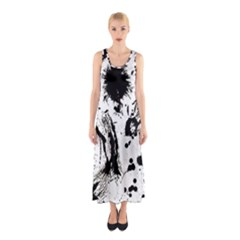 Pattern Color Painting Dab Black Sleeveless Maxi Dress