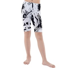 Pattern Color Painting Dab Black Kids  Mid Length Swim Shorts