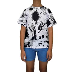 Pattern Color Painting Dab Black Kids  Short Sleeve Swimwear
