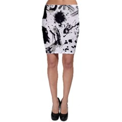 Pattern Color Painting Dab Black Bodycon Skirt