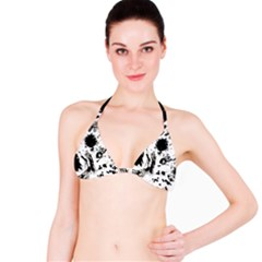 Pattern Color Painting Dab Black Bikini Top