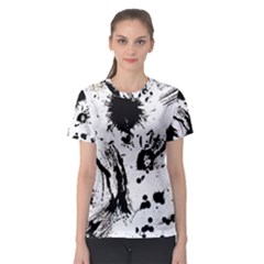 Pattern Color Painting Dab Black Women s Sport Mesh Tee