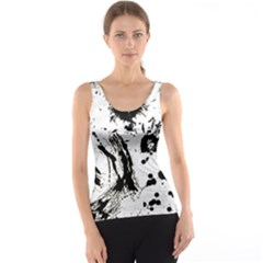 Pattern Color Painting Dab Black Tank Top