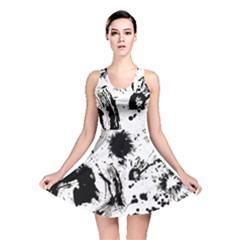 Pattern Color Painting Dab Black Reversible Skater Dress