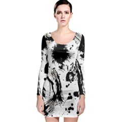 Pattern Color Painting Dab Black Long Sleeve Bodycon Dress