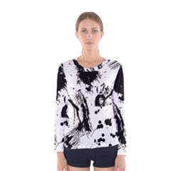 Pattern Color Painting Dab Black Women s Long Sleeve Tee