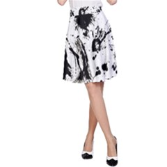 Pattern Color Painting Dab Black A-Line Skirt
