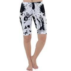 Pattern Color Painting Dab Black Cropped Leggings
