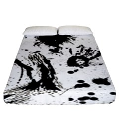 Pattern Color Painting Dab Black Fitted Sheet (King Size)