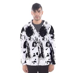 Pattern Color Painting Dab Black Hooded Wind Breaker (Men)