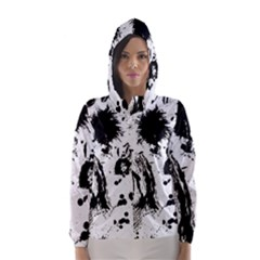 Pattern Color Painting Dab Black Hooded Wind Breaker (Women)