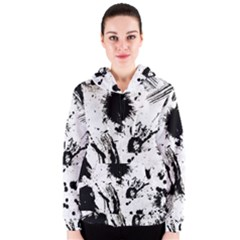 Pattern Color Painting Dab Black Women s Zipper Hoodie