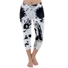 Pattern Color Painting Dab Black Capri Winter Leggings