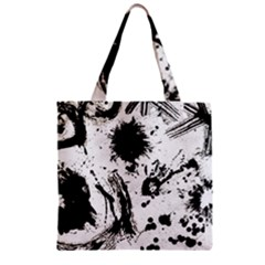 Pattern Color Painting Dab Black Zipper Grocery Tote Bag