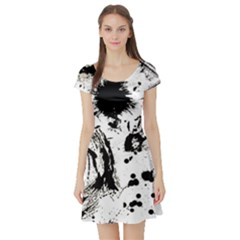Pattern Color Painting Dab Black Short Sleeve Skater Dress