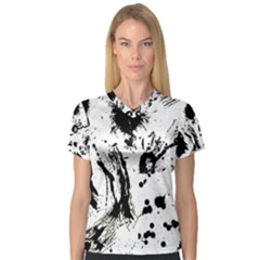 Pattern Color Painting Dab Black Women s V-Neck Sport Mesh Tee