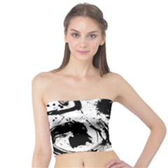Pattern Color Painting Dab Black Tube Top