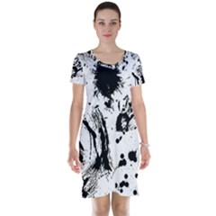 Pattern Color Painting Dab Black Short Sleeve Nightdress