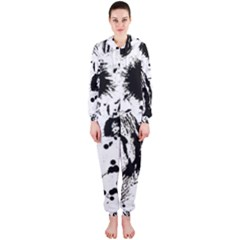 Pattern Color Painting Dab Black Hooded Jumpsuit (Ladies)