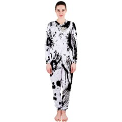 Pattern Color Painting Dab Black OnePiece Jumpsuit (Ladies)