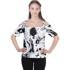 Pattern Color Painting Dab Black Women s Cutout Shoulder Tee