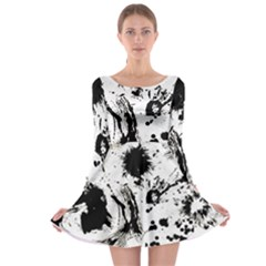Pattern Color Painting Dab Black Long Sleeve Skater Dress