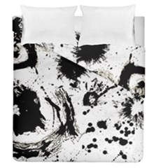 Pattern Color Painting Dab Black Duvet Cover Double Side (Queen Size)
