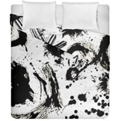 Pattern Color Painting Dab Black Duvet Cover Double Side (California King Size)