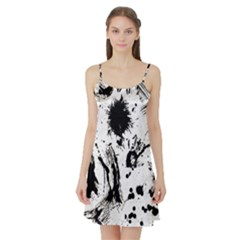 Pattern Color Painting Dab Black Satin Night Slip