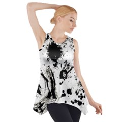 Pattern Color Painting Dab Black Side Drop Tank Tunic