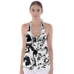 Pattern Color Painting Dab Black Babydoll Tankini Top