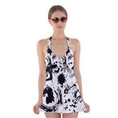 Pattern Color Painting Dab Black Halter Swimsuit Dress