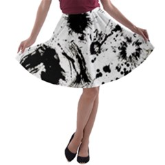 Pattern Color Painting Dab Black A-line Skater Skirt