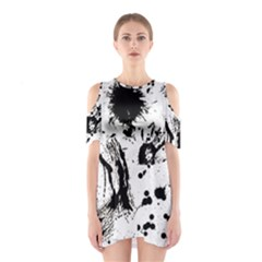 Pattern Color Painting Dab Black Cutout Shoulder Dress