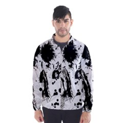 Pattern Color Painting Dab Black Wind Breaker (Men)