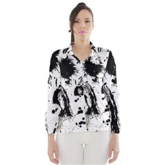 Pattern Color Painting Dab Black Wind Breaker (Women)