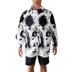 Pattern Color Painting Dab Black Wind Breaker (Kids)